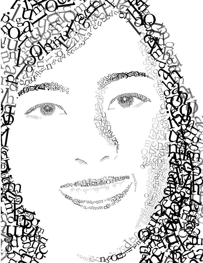Typographic portrait maile Typography portrait